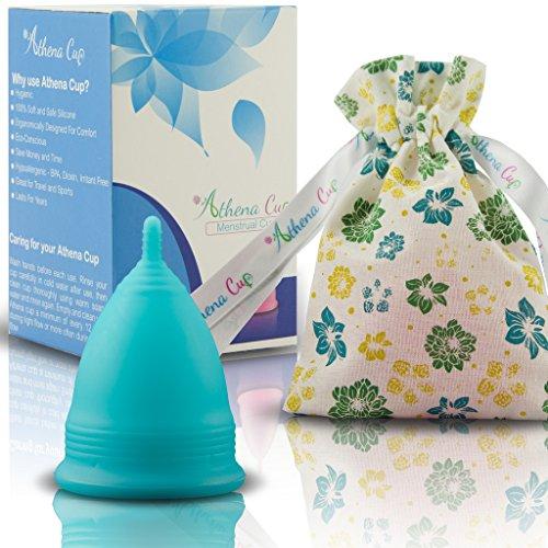 Athena Copa Menstrual – La copa menstrual más recomendada - Incluye una bolsa de regalo - Talla 2, Azul liso - ¡Ausencia de pérdidas garantizada!
