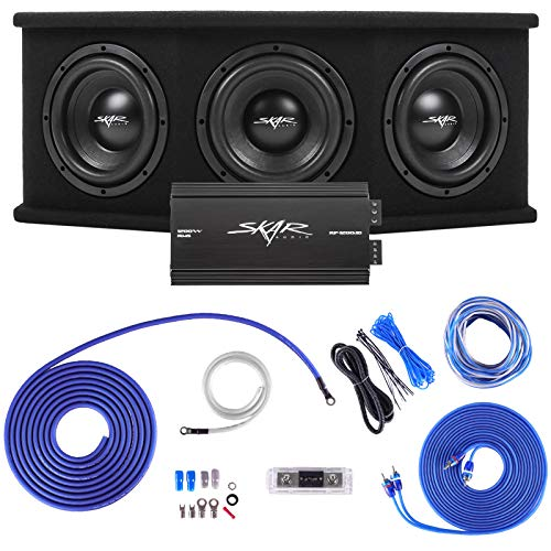 """Skar Audio Triple 8"""" Complete 2,100 Watt SDR Series Subwoofer Bass Package - Includes Loaded Enclosure with Amplifier"""