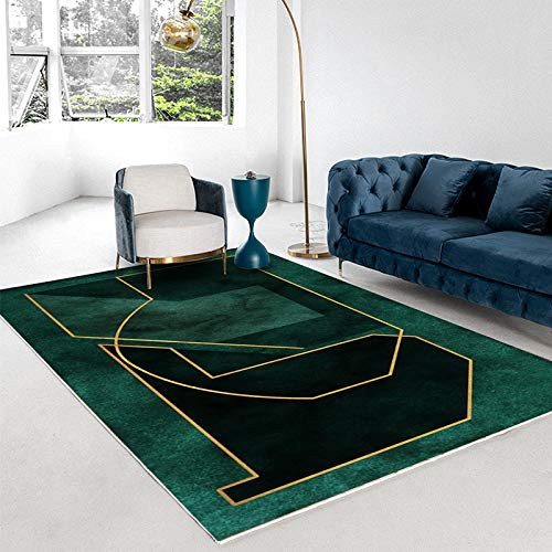 Alfombra De Oficina Simple Y Moderna, Alfombrilla Verde De Lujo Claro para Alojamiento En Casa De Familia, Alfombra De Dormitorio Geométrica Dorada Abstracta