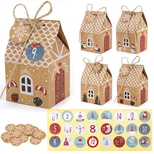 HOWAF 24 Adventskalender zum Befüllen Basteln, DIY Adventskalender Kisten Set, 24 Papierdrachen Weihnachtskalender Geschenkbox mit 24 Zahlenaufklebern, Seil, Kraftpapier Etiketten Tags