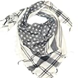 LOVARZI Bufanda para hombre y mujer - Pañuelo de estrellas Blanco y Negro - Pañuelo palestino