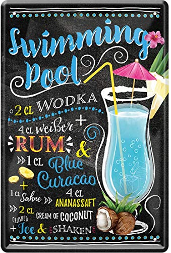 Swimming Pool Cocktail Rezept Wodka Weißer Rum Blue Curacao Coconut Ice 20 x 30 cm Bar Party Keller Deko Blechschild 1854