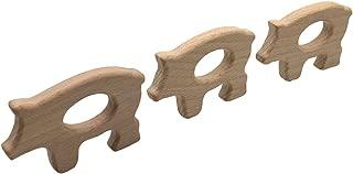 Beech Wooden Teether Timber Food Grade DIY Nursing Animals Pig Necklace Charms J