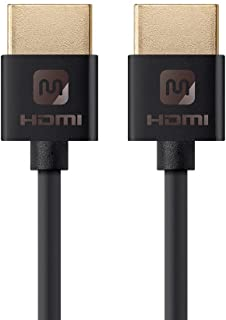 Monoprice HDMI High Speed Cable - 6 Feet - Black, 4K@60Hz, HDR, 18Gbps, 36AWG, YUV 4: - Ultra Slim Series