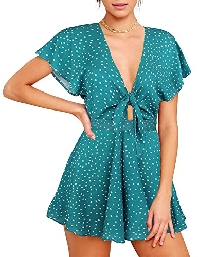 AGQT - Mono para Mujer con Cuello en V y Volantes con Lazo Frontal Mono Informal Holgado con Estampado Floral de Verano Verde S