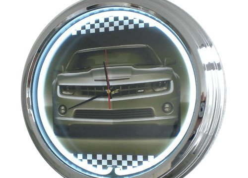 Neon Uhr Camaro Chevrolett Wanduhr Deko-Uhr Leuchtuhr USA 50's Style Retro Uhr Neonuhr