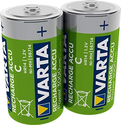 VARTA Rechargeable Accu Ready2Use vorgeladener C Baby Akku (2er Pack, 3000mAh), wiederaufladbar ohne Memory-Effekt - sofort einsatzbereit