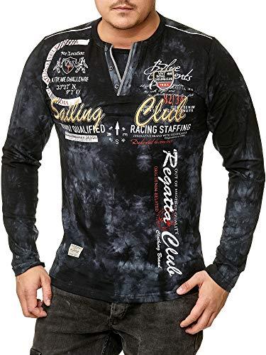 Violento Herren verwaschen Longshirt   Sailing Club Design 859 (3XL-Slim fit, Schwarz 859)