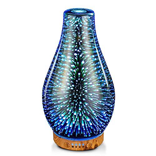 Handgefertigt Glas Aroma Diffuser für Ätherische Öle 100ml luftbefeuchter ultraschall,7 Farbe Licht,Feuerwerkseffekt,BPA-frei,Cool Mist,Timing-Funktion,Dekoration für Schlafzimmer,Wohnung,Büro