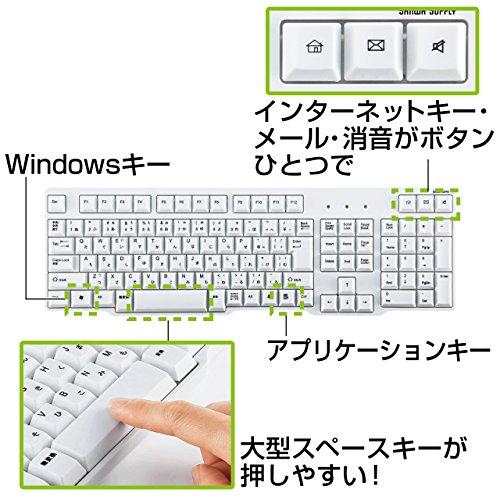 『サンワサプライ 有線USBキーボード 標準日本語配列 メンブレン ホワイト SKB-L1U』の3枚目の画像
