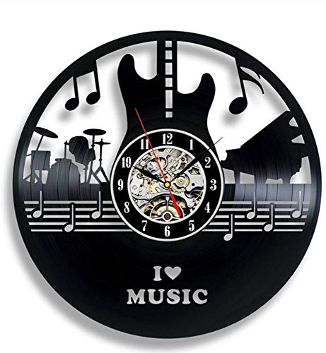 Vinyl Record Wandklok Modern Design Woonkamer Muziek Thema Horloge Muziekinstrument Piano Gitaar Drum Wandklokken Woondecoratie, F