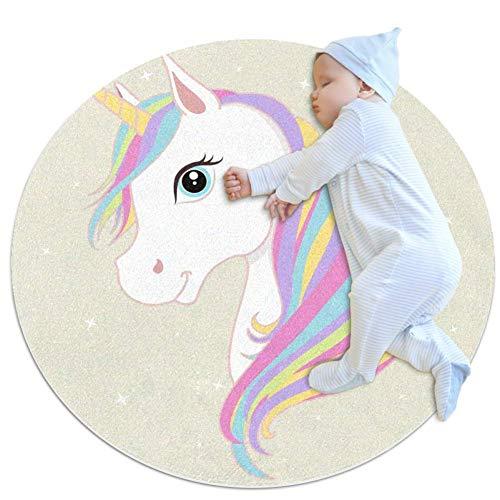 Wetia Dibujos Animados Lindo Unicornio 17 Alfombra Redonda para niños Al Aire Libre Antideslizante para Sala de Estar Dormitorio para niños habitación para bebés balcón círculo 80cm
