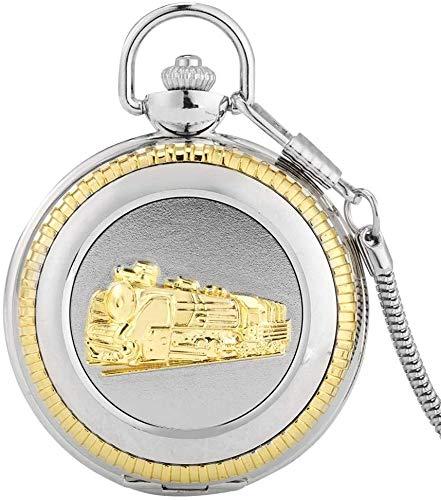 N / A Reloj de Bolsillo, Cuarzo Reloj de Bolsillo de Plata Motor locomotor del Tren de Vapor de Oro Talla Tren con Regalos de Cadenas de Recuerdo para los Hombres de Las Mujeres