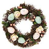 com-four® Corona de Pascua con Flores y Huevos - Corona de Mesa Decorativa - Corona de Puerta con...