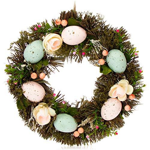 com-four Corona de Pascua con Flores y Huevos - Corona de Mesa Decorativa - Corona de Puerta con Percha - Corona de Ramas, diámetro Approx. 30 cm