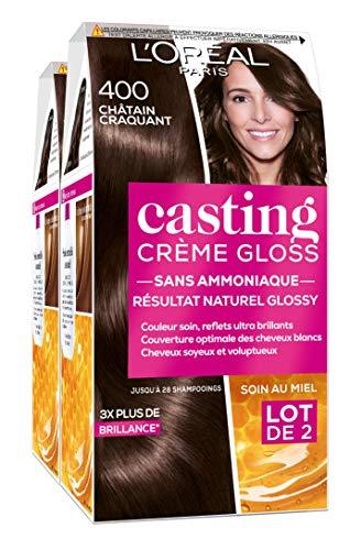L'Oréal Paris Casting Crème Gloss Coloration Ton sur Ton pour Cheveux - Sans Ammoniaque - Châtain Craquant (400) - Lot de 2