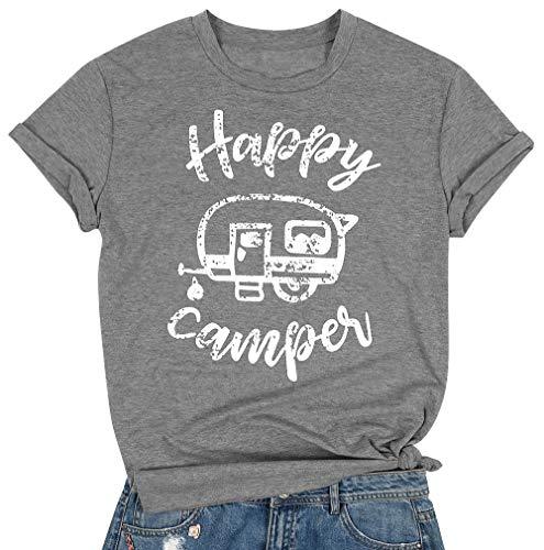 MAXIMGR - Camiseta de Manga Corta para Mujer, diseño de Campamento - Gris - Medium