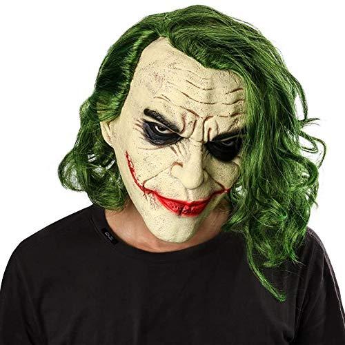 Halloween 2019 Película Joker Arthur Fleck Látex Cabeza Máscara Cosplay Horror Scary Payaso Espeluznante Máscara con Peluca de Pelo Verde del Partido del Traje Regalo
