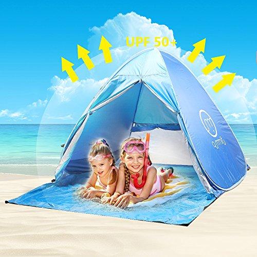 Tenda Da Spiaggia Bambini Adulti Anti UV, Oummit Tenda Pop Up Automatico Pieghevole Portatile Ripari Di Spiaggia Con Protezione Sole UV 50 + Per Attività Di Esterno Campeggio Escursionismo Viaggio Spiaggia.