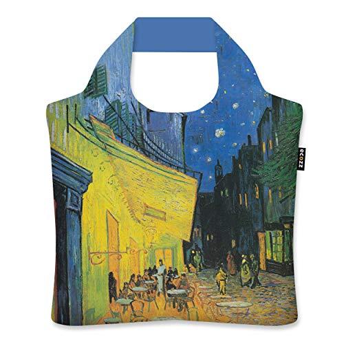 ecozz Cafe Terrace at Night - Vincent Van Gogh, faltbar, Einkaufstasche mit Reißverschluss, Wiederverwendbar, Tragetasche, Handtasche, Tote Bag, Strandtasche,...