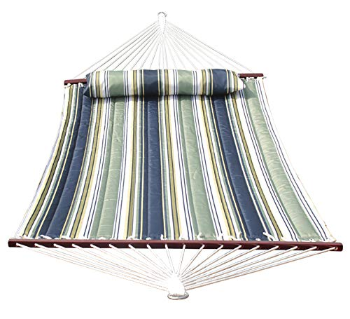 SUNLAX Double Quilted Fabric Hammock 2 Person with Spreader Bars,Detachable Pillow,Perfect for Outdoor Patio, Blue and Aqua Stripes