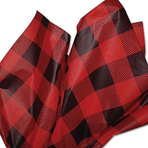 Lumberjack Tissue Paper (Red Buffalo Plaid) for Christmas, 24 sheets