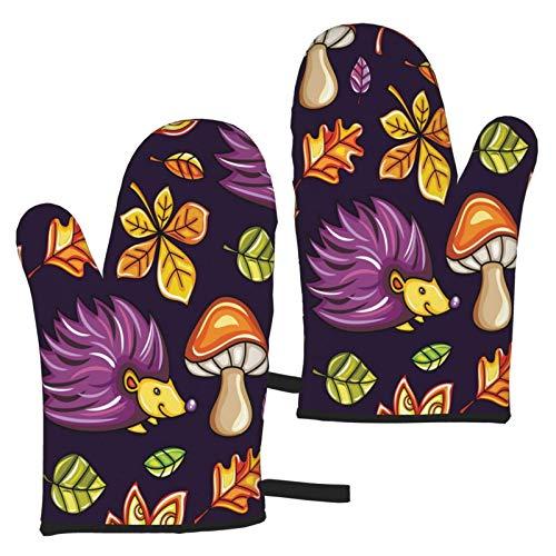 Hangdachang Ofenhandschuhe Herbst mit Kastanie und Eiche, hitzebeständig, Mikrowellen-Handschuhe, rutschfest, zum Kochen, Backen, Grillen, Mikrowelle und Grillen (1 Paar)