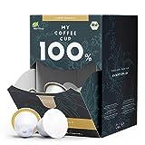My Coffee Cup Mega Box Cápsulas de Café Caffè Vanilla Orgánico - Granos con Sabor y Aroma - Compatible con Máquina Nespresso®³ - Cápsulas Compostables Industrialmente sin Aluminio - Pack 100