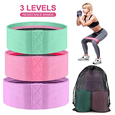 Resistance Bands for Legs and Butt, 3 Exercise Booty Bands, Non-Slip Gym Workout Bands, Elastic Stretch Sports Fitness Bands for Women/Men, Home Fitness, Pilates Yoga Squat Glute Hip Training-P