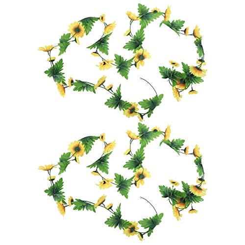 Deror 2 Piezas de Flores Artificiales de Girasol, Vid, Decoraciones Doradas, aptas para el Festival de Bodas, Fiesta en casa