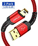 JSAUX Mini USB Cable[2-Pack 3.3ft+6.6ft] USB 2.0 Type A to Mini B Cable Male Charging Cord Compatible with GoPro Hero 3+, PS3 Controller, MP3 Players, Dash Cam, Digital Camera, GPS Receiver, PDAs etc