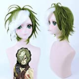Green White Mix Short Fluffy Synthetic Wig Kabaneri Of The Iron Fortress Ikoma Cosplay Wig Heat Resistance Fiber Pl-452