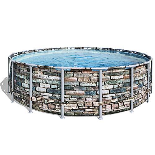Bestway Power Steel Frame-Pool, 549 x 549 x 132 cm, rund, Steinoptik, 26.000 Liter,  ohne Pumpe und Zubehör, Ersatzpool, Ersatzteil