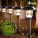 Solar Lights Pathway Outdoor Garden Path Glass Stainless Steel Waterproof Auto On/Off Bright White Wireless Sun Powered Landscape Lighting for Yard Patio Walkway Landscape In-Ground Spike Path Light