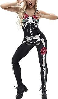 MagicQK Halloween Costume Sleeveless, Zombie Party Cosplay Skeleton Jumpsuit, 3D Printed Bones Dress