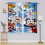 Mickey-Mouse - Cortinas opacas para oscurecer la habitación con aislamiento térmico para mantener el calor, cortinas para ventanas para dormitorio de 106 x 137 cm