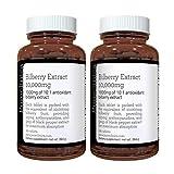 Heidelbeerextrakt 10,000 mg x 360 Tabletten (2 Flaschen) - 10 X mehr Anthocyanidine pro Tablette als...