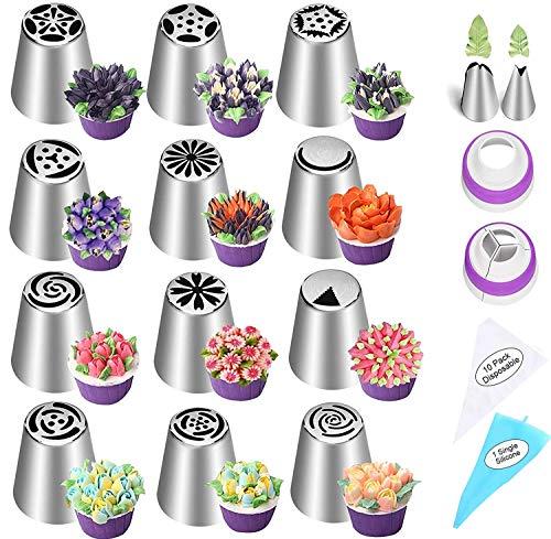 Spritztüllen Set,Russische Spritztüllen Set Sahnespender 12tlg Zum Verzieren von Cupcakes Torten Rosen Blumen Für Hobby Bäcker Konditor