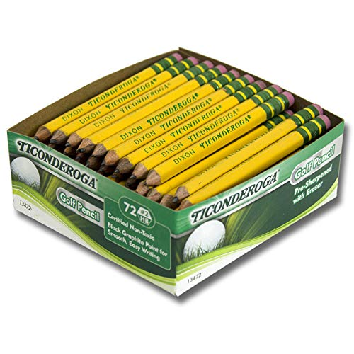 Ticonderoga DIX13472 Golf Pencil, Yellow (72 Count)
