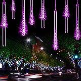YSIM Meteor Shower Rain Lights,Twinkling Romantic Lights for Party, Wedding, Christmas, etc.11.8inch 8 Tubes (Purple)