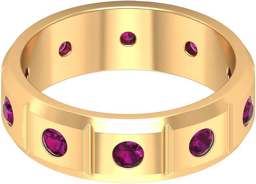 June San Jose Mall Birthstone - 2.50 MM Round Cut Ban Rhodolite Eternity Arlington Mall Ring