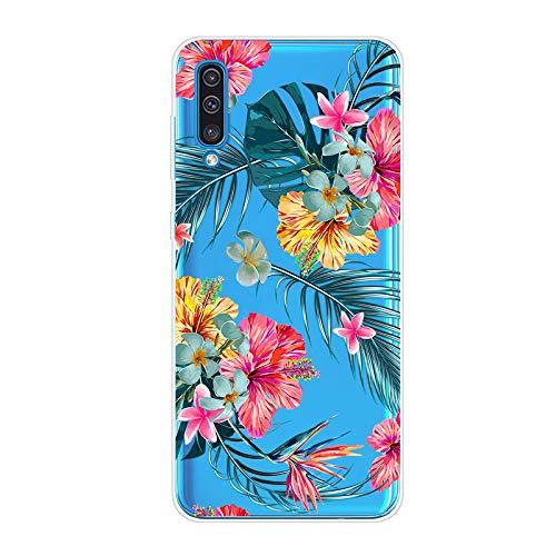 WIWJ Handyhülle für Samsung Galaxy A50 Hülle Weich TPU Case Ultra dünn Silikon Gel Cover Clear Transparent Durchsichtig Schutzhülle 360 Grad Mädchen Kratzfest Bumper Tasche-Pflanze