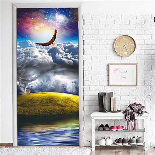 3D-deurstickers, 77 x 200 cm, zonneschijn bos, landschap, deur, sticker, plakfolie, vc, zelfklevend, waterdicht behang, doe-het-zelf, wooncultuur, muursticker