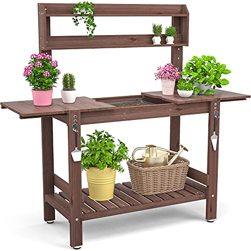 Homykic Potting Bench Table Outdoor, 40 Inch Fir Wood Potter Prep Station Plant Bar Workstation with Slide Tabletop, Stainless Sink & Drawer Shelf Hook for Patio, Garden, Backyard, Brown