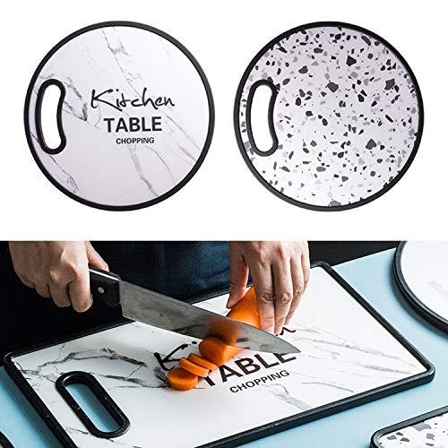 WXX El Moho de plástico PP Pequeño Tabla de Cortar Hogar de Doble Cara del alimento Vegetal Suplemento de Corte Tabla de Cortar, Estilo: Ronda (Marbling) (Color : Marbling)