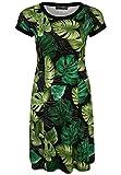 Doris Streich Damen Jerseykleid mit Blätter-Print und Passformnähten