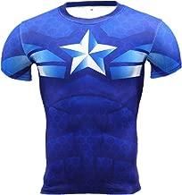 Cosfunmax Superhero Captain Team Leader Compression Shirt Sports Gym Running Base Layer