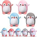8 Pinguino Peluche Mini di Giocattoli Pinguino Animali Farcito Accessori Portachiavi Fai da Te Decorazioni Pinguino per Compleanno Baby Shower Natale Bomboniere Matrimoni, 4 Colori