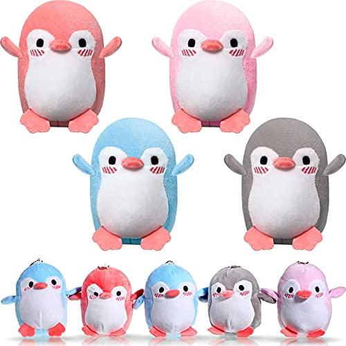 8 Mini Juguetes de Pingüinos de Peluche Juguete de Pingüino de Peluche de Animales Accesorio de Llavero DIY Decoración de Pingüino para Cumpleaños Baby Shower Navidad Boda Fiesta, 4 Colores