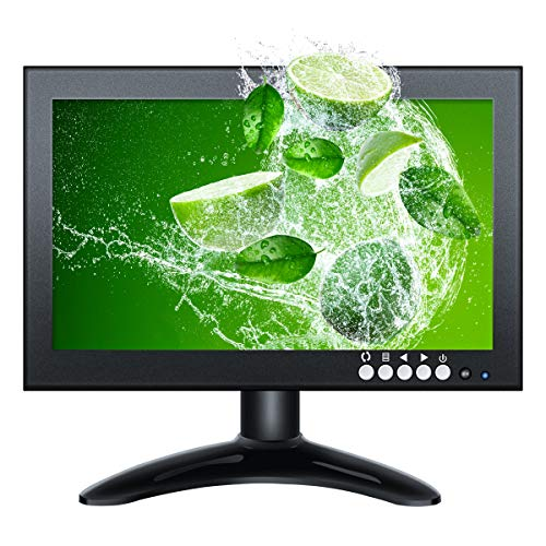 Eyoyo Monitor da 8 Pollici 16:9 HDMI IPS Schermo 1280X720 Full Display Supporta HDMI/VGA/AV/BNC/Speak Ingresso Altaparante per PC CCTV Camera Security Raspberry pi Computer Drone Microscope